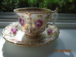 19.sz Muzeális  készlet aranyozott dombormintákkal, kézzel festet arany és rózsa mintákkal