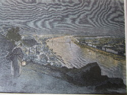 BUDAPEST ÉJSZAKA KILÁTÁS A GELLÉRTHEGY -RŐL SZÍNES LÁTKÉP JELZETT METSZET KÉP CCA. 1850