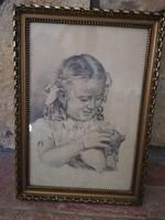 Kislány cicával ceruzarajz- szignós -1946