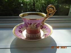 19.sz Látványos biedermeier fogóval kézzel festett arany ibolya mintákkal teás készlet