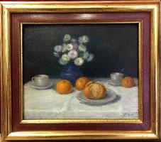 Lóth József/1884 Győr -1960 Győr/: Csendélet,olaj-fa