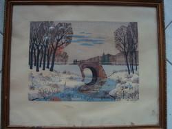 Zsille Győző : Téli táj híddal