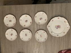 Hollóházi süteményes tányérkészlet 6+1db-os