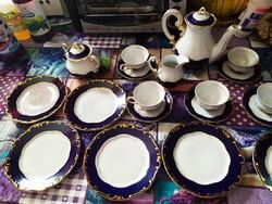 Zsolnay Pompadúr 6  darabos kávéskészlet alátétekkel, cukortartó, tejtartó, kiöntő kávéskanna
