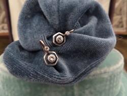 Brilles art deco antik arany buton fülbevaló pár