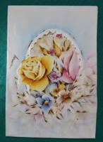 Zákányi Edit grafika,virágos,használt levelezőlap,képeslap,1985