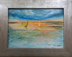 Lake Balaton picture, from the studio.38X29cm. Károlyfi sófia from a prize-winning artist.