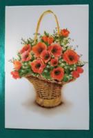 Szép,kinyithatós,virágos,használt képeslap