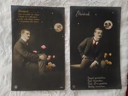 2 db antik, német kézzel színezett romantikus fotólap/képeslap, magyar vers, úr rózsákkal