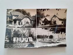 Régi képeslap 1961 Balatonföldvár üdülők kikötő levelezőlap