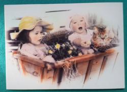 Aranyos kisgyerekes,postatiszta képeslap(2)