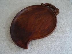 Rusztikus fa tál faragott kínáló, tálca, fatál