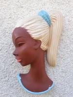 Cortendorf kerámia női fej falidísz, fali maszk