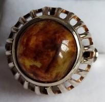 Régi ezüst gyűrű, borostyán kővel, ritka darab