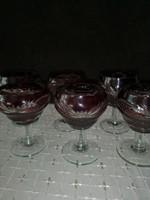 Bordó csiszolt kristály pohár készlet