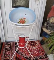 Fém lavortartó szett mosdóállvány Zománcos rózsás Csepel lavórral  Mosdókancsó nosztalgia paraszti