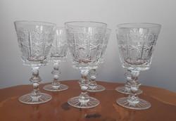 6 db antik ajkai forgómintás csiszolt ólomkirstály boros pohár