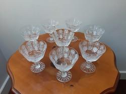 8 db antik ajkai forgómintás szélesszájú csiszolt ólomkristály talpas pezsgős pohár