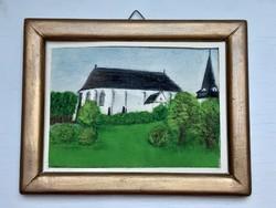 A miskolci avasi templom és harangtorony olaj vászon egyszerű fa keretben. 1980. Monogramm P.G.