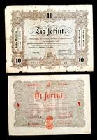 5 forint és 10 forint 1848 Kossuth bankó 2db