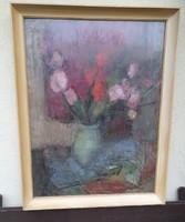 Tallós Ilona olajfestmény, csendélet, üvegezett keretben