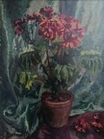 Boemm Ritta(1868-1948):Virágok enteriörben. Jelzett olajfestmény