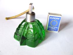 Régi zöld parfümös üveg, kölnis üveg-sajnos sérült