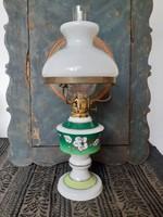 Hibátlan, vitrin állapotú, Wallendorf porcelán lámpa, petróleumlámpa, kézzel festett