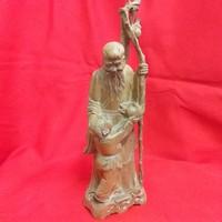 Kínai Tu-Van Mitológiai Bölcs Faragott Fa Szobor.Jelzett. 26.5 cm