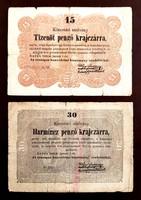 15 Pengő krajczárra és 30 Pengő krajczárra 1849 Kossuth bankó 2db