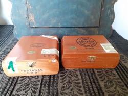 2 db szép állapotú, nagy méretű, régi fa szivar doboz, szivarosdoboz, Cuba, Dominica