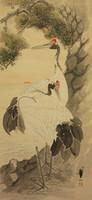 Darvak a fenyő alatt - Japán akvarell falitekercs festmény eladó