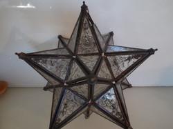 Üveg - TIFFANY - HATALMAS - MÉCSESTARTÓ - FÜGGESZTHETŐ -  22 x 22 cm - HIBÁTLAN