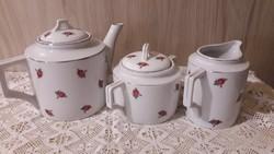 Zsolnay gyönyörű, rózsás teáskészlet, kanna, cukortartó, tejszínes
