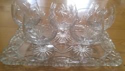 Kristály konyakos-whiskeys pohár 5 db, gyönyörű  mintával!
