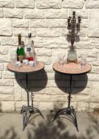 Akció Vas kávézó,kerti bútor, asztalka 1 vagy 2 db állvány, kőmozaik a tetején! 71,5cm magas.