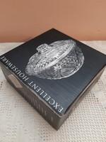 Csiszolt ólomkristály fedeles kerek cukortartó bonbonier original
