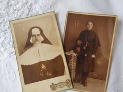 2 db antik magyar szépia fotólap apáca/vallás Ábrahám István Miskolcz