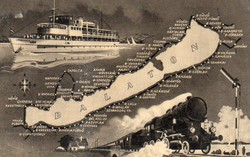 Ba 109 Körkép a Balaton vidékről a XX.század közepén .Hajózási térképek képeslapokon