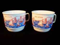 Régi Zsolnay porcelán Balaton bögre, csésze vitorlásokkal