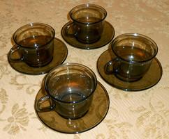 Teás kávés francia füstszínű hőálló üveg készlet 4 személy