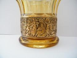 Moser vagy moser jellegű aranyozott díszes borostyán színű váza