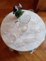 Francia (Baccarat?) kristály vizes poharak kancsóval a 20. század elejéról