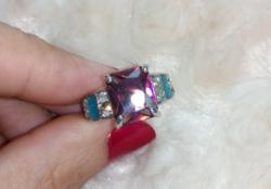 Gyönyörű, mystic topáz köves, 925 jelzésű gyűrű 8