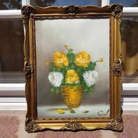 Szignózott olaj, vászon 28,5 x 39 cm festmény, blondel képkeret, sárga rózsás csendélet