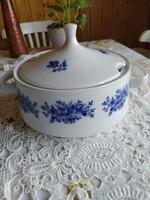 Alföldi porcelán jelölt hibátlan leveses tál ritka kék dekorral