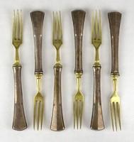 1E827 Régi réz fejű ezüst villa készlet 6 darab