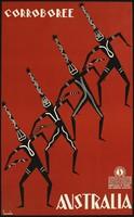 Art deco plakát reprint nyomat Ausztrália aboriginal bennszülött törzsi művészet tánc maszk fejdísz