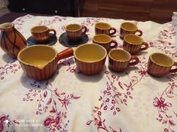 Tófej kerámia kávés készlet 8 csésze+kiöntő