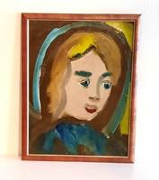 """Németh Miklós: """"Lány portré"""" festmény 1971"""
